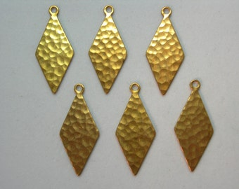 Hammered Raw Brass Kite Shaped Earring Finding Drops - 6