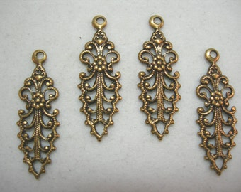 Oxidized Brass Victorian Filigree Earring Drops Findings Stampings
