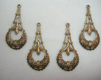 Antiqued brass Filigree Victorian Art Deco Earring Findings Drops - 4