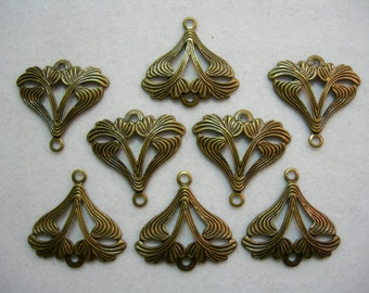 Antiqued Brass Victorian Brass Drops Earring Findings - 8