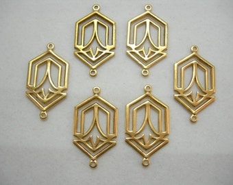 Raw Brass Art Deco Earring Finding Drop Stamping - 6