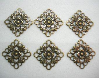 Antiqued Brass Fligree Earring Finding Drop - 6