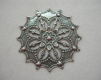 Antiqued Silver Plated Brass Victorian Filigree Finding Pendant