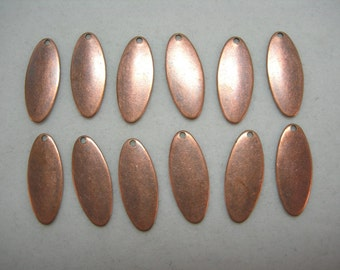 Copper Plated Oval Drops 17mm Earrings Dangles Drops Findings