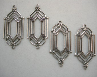 Oxidized Silver Plated Victorian / Art Deco Earring Findings Drops Dangles - 4