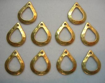 Hammered Raw Brass Teardrops Dangle Drops Earring Findings - 10