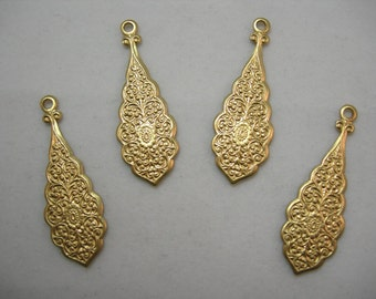 Floral Embossed Raw Brass Victorian Earring Drops Findings Stampings