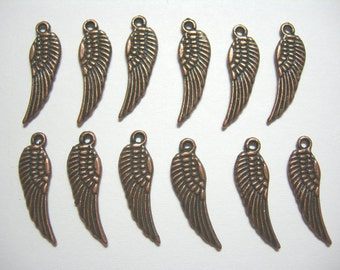 Copper plated Wings - Charms Drops Dangles Earring Findings - 12