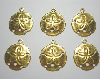 Raw Brass Sand Dollar Charms Earring Findings Drops - 6