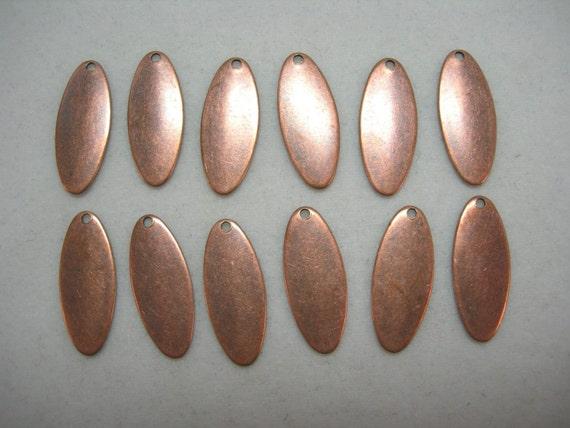 Copper Plated Oval Drops 17mm Earrings Dangles Drops Findings
