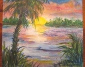 Sunset art, Palm tree art, Acrylic Painting, 6 x 6 inch, Florida, landscape, sunrise, tropical, Original, OOAK -