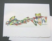 Red eye tree frog, Frogs, 5 x 7 blank, Note Card,Greeting Card, Whimsy, Green, WatercolorsNmore - Fun