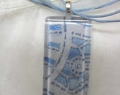 Victorian Lace, Baby Blue, Pendant Necklace, Watercolor, Glass Tile, Delicate Blue, OOAK, pastel,