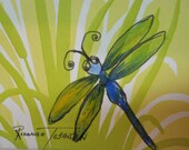 Dragonfly - acrylic dragonfly - ACEO - recycled - embossed greeting card - handpainted - 161 - acrylic - painting