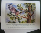 Wings of Eagles, Eagle art watercolor print 5 x 7 Note card Florida Mount up on Wings of Eagles Encouragement