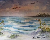 Sea Breeze, ACEO  Beach Watercolor Print Florida Sea 704 OOAK Ocean Waves
