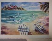 Ocean Breezes 5 x 7 note card, Ocean View, Beach, Sea Gulls, Florida Art print, Sea Breeze, Island