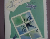 Inchie Note Card, Repurposed, Recycled, inchie, watercolor, collage, Dragonfly, 5 x 7, God Bless You Today and Always