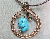 Turquoise nugget Pendant necklace wire wrap vintage nontarnished Bronze & Copper OOAK unique