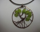 Tree of Life pendant, wire wrapped, nontarnish antique copper, green - watercolorsNmore