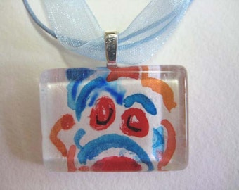SALE Clown, Watercolor, Glass Tile Pendant Necklace, Circus OOAK, Clown, Whimsical,