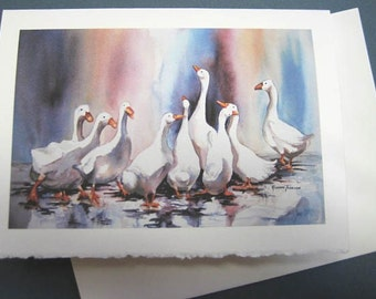Ducks Geese Splashy Ducks 5 x7 Note Card, Greating Card, Purple, Jewel Tones, Rain