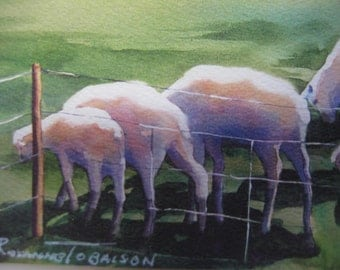 Sheep, Over the Hill, ACEO, 820, collectable, lamb,  pastural,  2.5 x 3.5 inches, green, whimsy