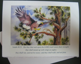 Encuragement Greeting Cards Wings of Eagles, Christian Scripture art watercolor print 5 x 7 Note card Religious