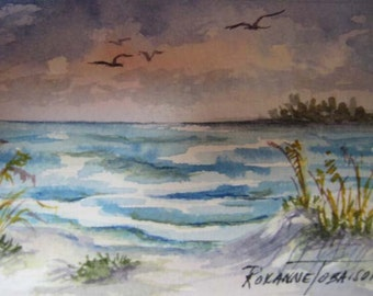 Sea Breeze, ACEO Beach Watercolor Print Florida Sea 835 OOAK Ocean Waves