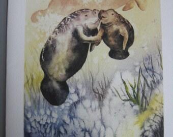 Manatee, Note Card, 5 x 7, Greeting Card, Manatees, watercolor print Mother, baby, Florida, sea cows, mammals