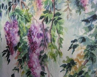 Wisteria Vines ACEO, Wisteria Vines Print, Watercolor print, 847 lavender, purple