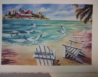 Ocean Breezes 5 x 7 note card, Ocean View, Beach, Sea Gulls, Florida Art print, Sea Breeze, Island