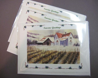 Christmas Cards  Season Greetings (3) - First Snow Holiday can Customize Greeting Note Cards  Watercolors