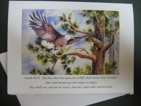 Wings of Eagles, Eagle Scripture art Cards 3 choices watercolor print 5 x 7 Note card Encouragement