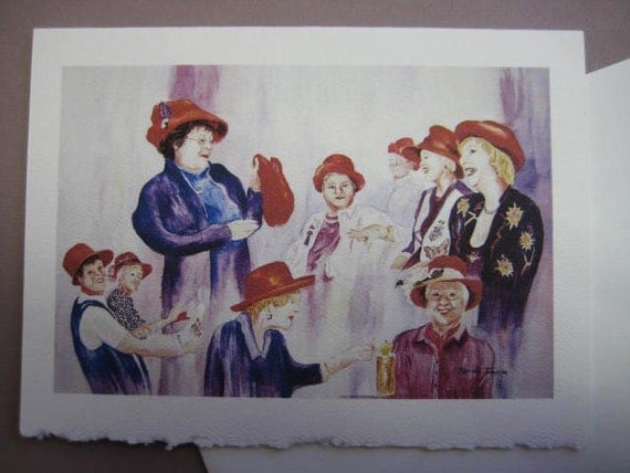 Red Hat Ladies Note Card Blank 5 x 7  Red, purple fun whimsy greeting card