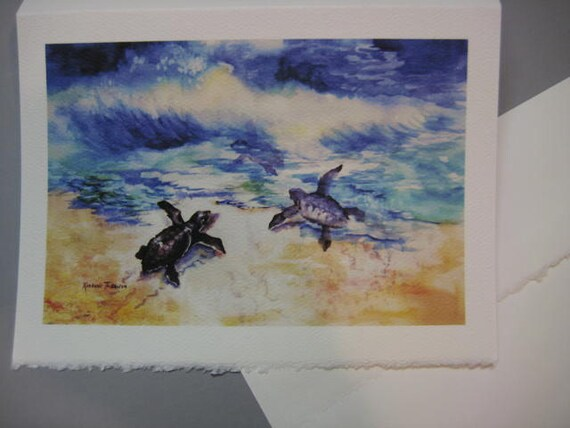 Sea turtles, Turtle art, Baby Sea Turtles, 5 x 7 Note Card, WatercolorsNmore Sea Ocean