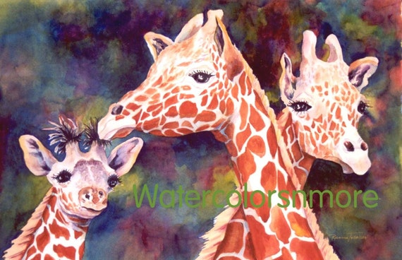 Giraffes Watercolor 8 x 11 Print  Africa  zoo giraffe Decorative art animals orange whimsy jewel tone