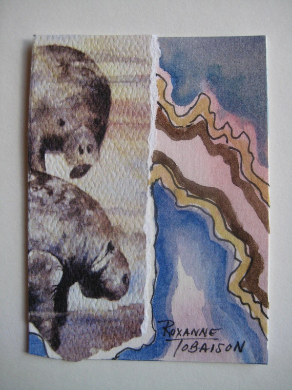 Manatees - manatee art, watercolor collage, ACEO - 227, Florida, blue, brown