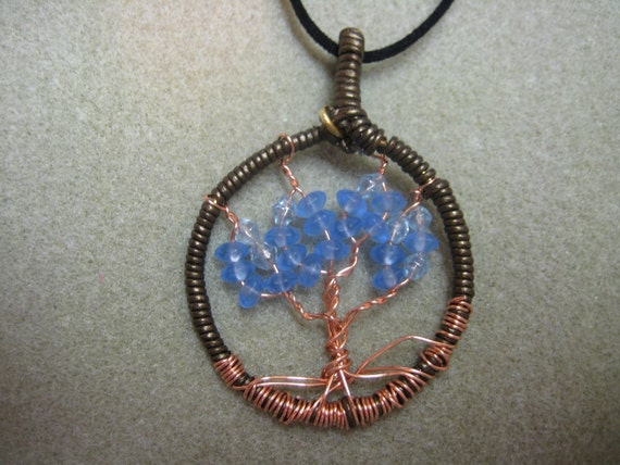 Tree of Life, blue beads, leather cord wrapped - copper wire pendant necklace circle of life