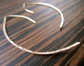 Sale-SHOP CLOSING 5/21/14-Dagger Hoop Earrings- Hammered 14K Gold FIll- simple, modern, simple, lightweight, everyday earring