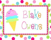 Personalized  Ice Cream Thank You Notes Note Cards