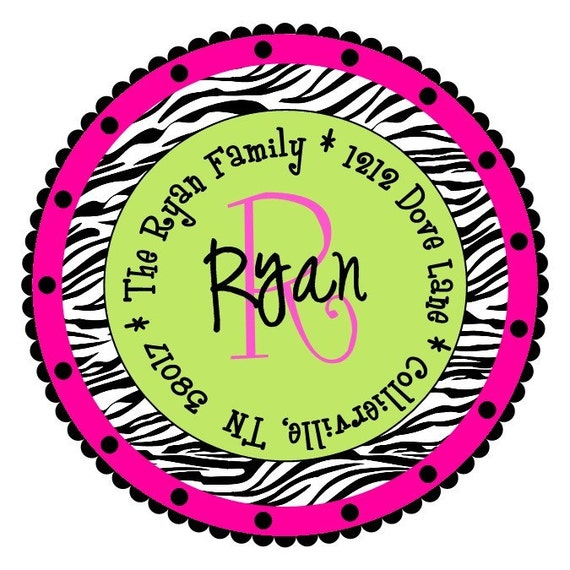 Round Zebra Labels Stickers for Party Favors, Return Address Label ...