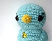 Turquoise crochet bird