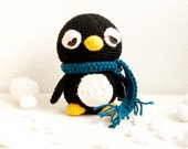 Amigurumi, soft toy, crocheted - sleepy penguin with a scarf