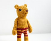 Crocheted amigurumi, soft toy, soft sculpture - Pete the bear with red-yellow striped pants