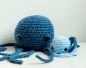 Crochet pattern octopus amigurumi, pattern for a big AND a small octopus - Instant download PDF
