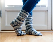 Hand knitted socks - gray scale. stripes in gray and white.