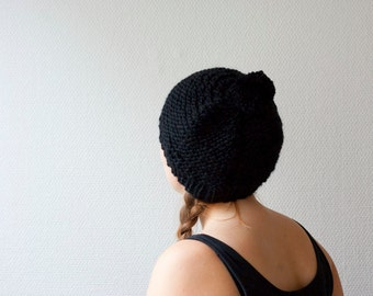 Black pom pom hat hand knit chunky soft warm hat