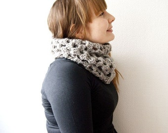 Gray crochet lace cowl soft light cowl snood hand crocheted in soft wool