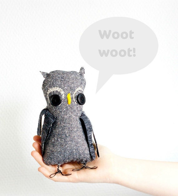 Hand sewn soft sculpture - Olga the Owl. Woodland, forest bird.